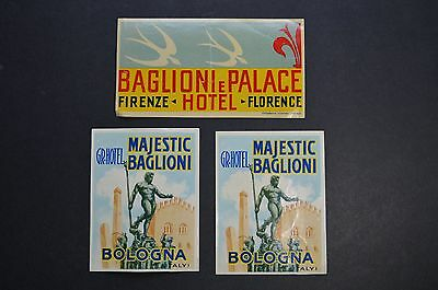Lot of 3 vintage LUGGAGE LABELS - Baglioni Hotel, Bologna and Florence - Firenza