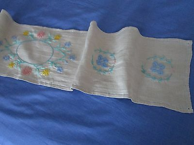 Vintage linen table runner, hand embroidered in wool