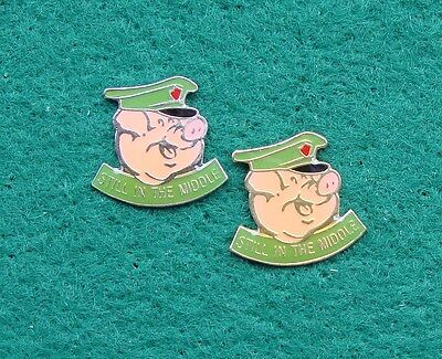 RUC Royal Ulster Constabulary Police STILL IN THE MIDDLE tie tac pin badges