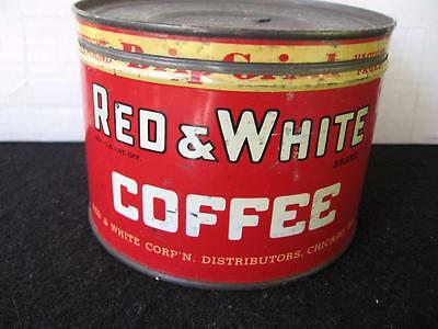 Vintage Red & White 1 LB. Coffee Tin-Key Opened original lid