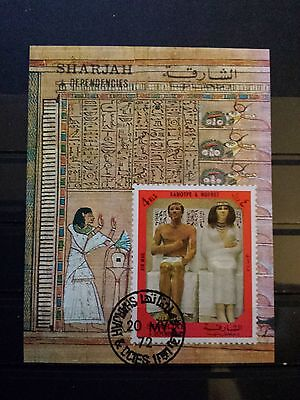 BRIEFMARKEN Block Welt Arabische Emirate SHARJAH Motiv ÄGYPTEN Stamps Old Egypt