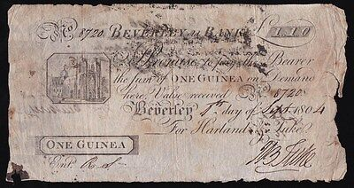 GREAT BRITAIN Beverley Old Bank One Guinea 1-9-1804  Harland & Take Outing-128a