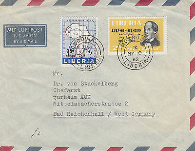 A 398 Liberia 1962 very neat cover air to W. Germany