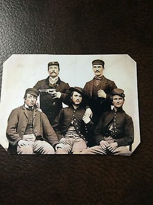 5 Civil War Military Soldiers Having Fun 1 with Pistol  TinType C655NP