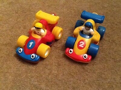 two racing cars with winding mechanism,  great condition