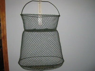 Vintage Maillinox Made In France Green Wire  Fishing Basket Great Decor Piece