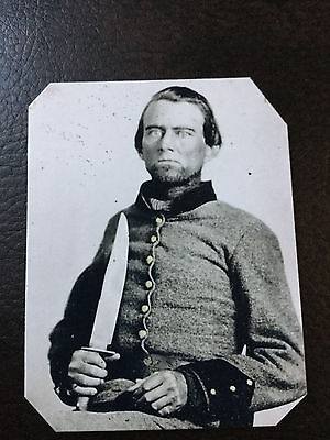 Confederate  Soldier Large Bowie Knife  TinType C965NP