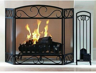 3-Panel Scroll Fireplace Screen Hinged Frame Mesh Screen Spark Guard Protection