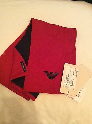 Bnwt Armani Soft Knit Scarf Age  3 M ++ Length 38 Inches Price £62 Navy/red