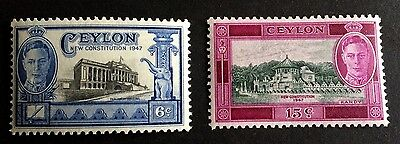 2 wonderful mint stamps 6 and 15 Cents Ceylon