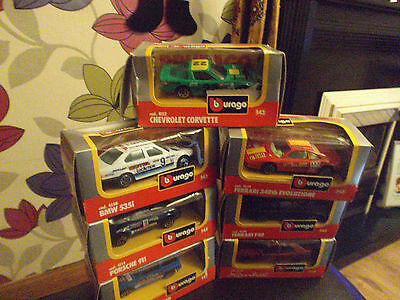 7 X Burago 1.43 Scale Model Cars