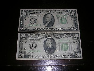 "1934  $10 & $20 FEDERAL RESERVE Note, $30 Face Value  ""LOOK"" Green seal"