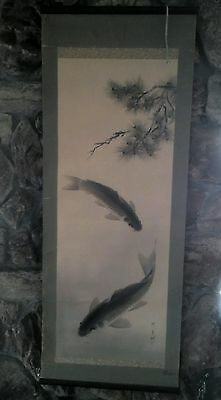 Antique Japanese Art Painting Koi Fish Carp Hanging Scroll Signed by Artist