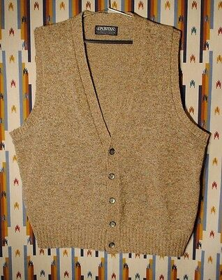 Vintage Mens PURITAN 2-Ply Shetland Wool Cardigan Sweater Vest Sz XL