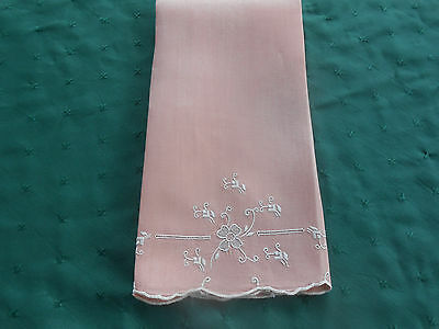 Pink Linen Towel With White Hand Embroidered Flowers,,  Circa 1920