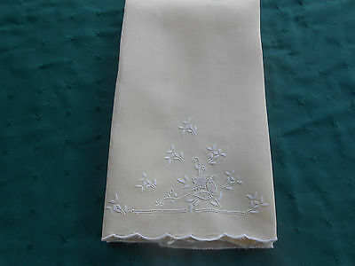 Light Yellow Linen Towel With White Hand Embroidered Flowers,,  Circa 1920