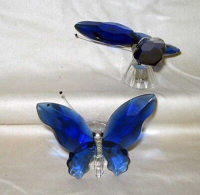 Lot of 2 Bright Cobalt Blue & Clear Glass Butterflies Decorations Maker Unknown