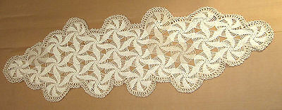 "Vintage 38"" x 12"" Handmade Crochet Table Doily Ecru/Tan Cotton Pinwheel Design"