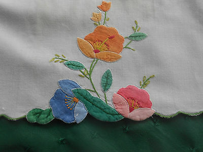 Fantastic White Towel With Hand Appliqued Flowers,  Circa 1930
