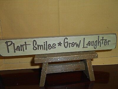 """PLANT SMILES GROW LAUGHTER  Engraved Wood Block  Distress Pastel Green 12"""" L"""