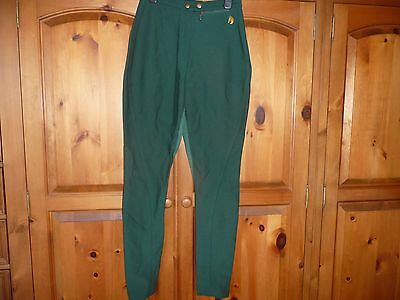 Ladies Two Tone Green Riding Trousers/jodpurs Size 12 In Excellent Condition