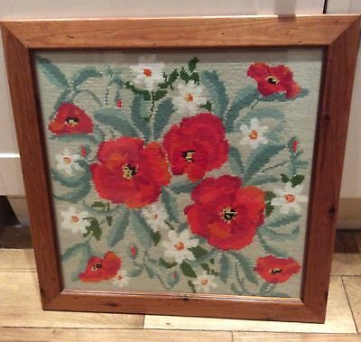 Framed Hand Embroidered Picture, Poppies Flowers