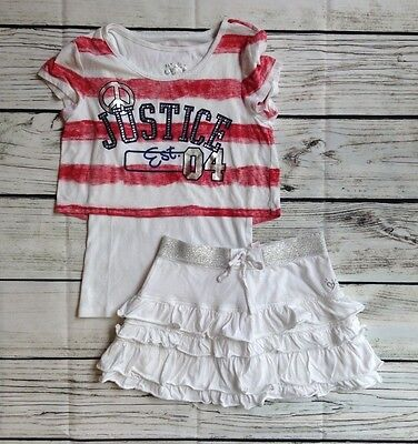 Girls Justice Outfit Size 12 White Skirt & Multi-Color S/s Cotton Top Guc