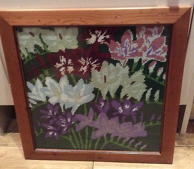 Framed Hand Embroidered Picture, Crocuses, Freesias And Pansies Flowers