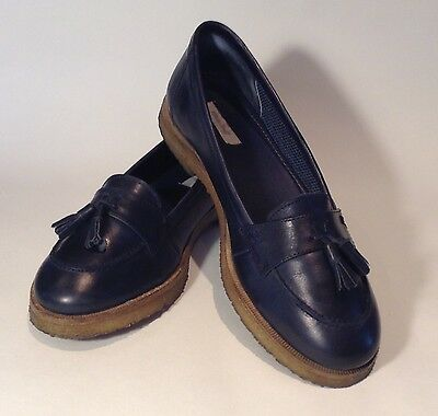 WHITE STUFF navy blue leather tassle loafers, size 39