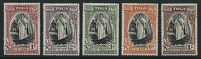 Tonga: 1944 Queen Salote's Silver Jubilee set of 5 stamps SG83-87 MM - AC186