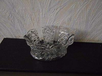 Glass container (small bowl or vase?) in pressed glass