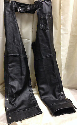 Barney's Black Leather Motorcycle Chaps Size Xxl Great Pre-Owned Condition
