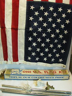 Vintage 50 Star USA American Flag 3'x5' W/Original Box 100% Cotton Mountain Inds