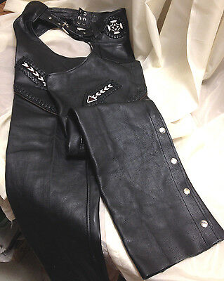 Unik Premium Black Leather Chaps Intricate Bead Work Size Small Excellent Cond