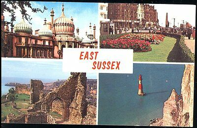 POSTCARD- FOUR VIEWS of EAST SUSSEX