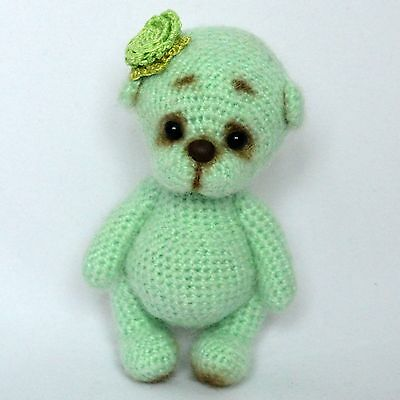 Crochet green teddy bear, artist miniature, 4 ¾in.