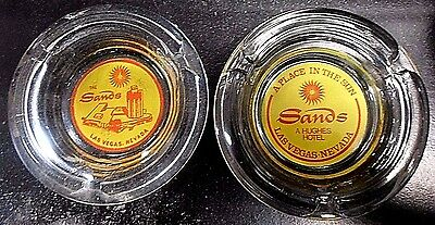 THE SANDS Las Vegas CASINO ASHTRAYS (2) HUGHES HOTEL Clear Glass VINTAGE