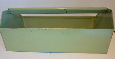 Vintage Green Painted Metal Tool Carrier Caddy Floral Carrier Planter Jade Green