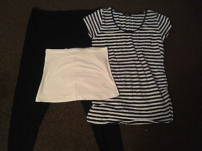 maternity clothes size 14, Black Leggings, Stripping Top And Bump Band