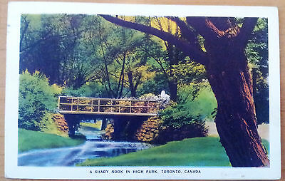 old postcard, Toronto, A Shady Nook in High Park, coloured, used 1947
