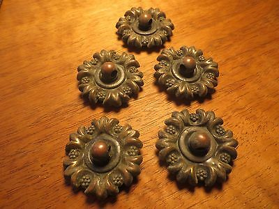 Antique Salvaged Hardware Lot/5 Very Ornate Brass Pull Plates