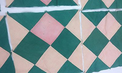 Vtg Pink Green 9 Quilt Squares Blocks Diamonds Mosaic Hand Stitched 11 inch