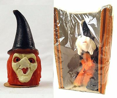 2 Vtg Gurley Candles Red Hair Red Eyes Black Hat Witch Head Broom Halloween