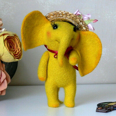 Artist yellow elephant, handmade felted wool miniature, 4 ¾in.