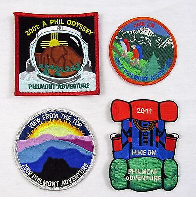 Lot of 4 NEW Philmont Adventure patches 2001 Odyssey 2007 Hike On 2009 View 2011