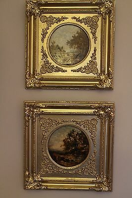Original pair oil on panel by Joseph Thors in gilt victorian frames both signed