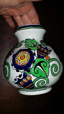 Antique Art Deco c1925 Boch Freres La Louviere Belgium Art Pottery Vase