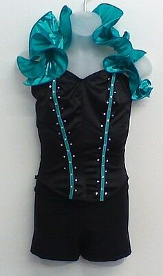 Dance Costume Black Green Ruffle Top MA Jazz Tap Solo Competition Pageant glitz