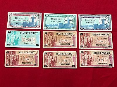 Lot Of 9 Military Payment Certificates
