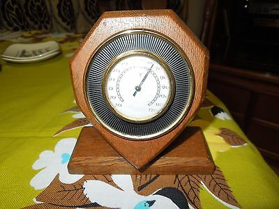 Vintage Desk Thermometer. Shield Shape Wooden Stand.